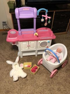 Baby doll nursery, washing machine, and stroller set