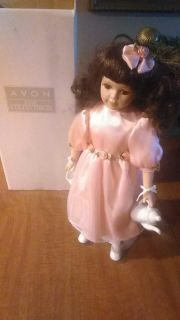 Porcelain collectors doll, Tea Time, comes with stand and box.