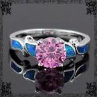 New - Pink Topaz and Blue Fire Opal Ring - Size 8 1/2
