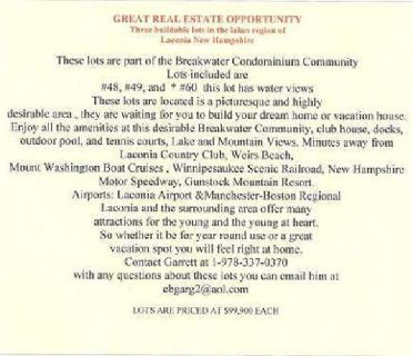 A greta chance to own a vacation location in New Hampshire