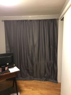 Gray blackout curtains. 2 panels, each are 40 x 86. Includes rod and all hardware! $25