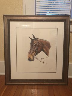 Framed horse painting