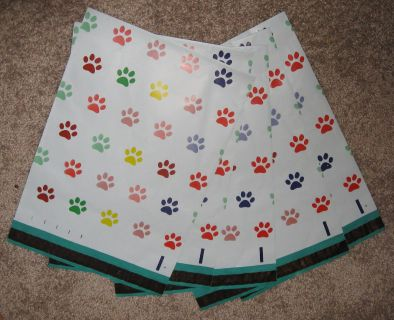 AB Meet - Five Puppy Dog Paw Print Poly Mailer Envelopes for Shipping - NEW!
