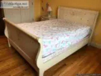 Girl beige wooden furniture -piece bedroom set double bed