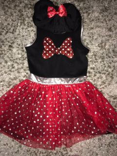 Minnie Mouse dress with mouse ears hood size 7/8