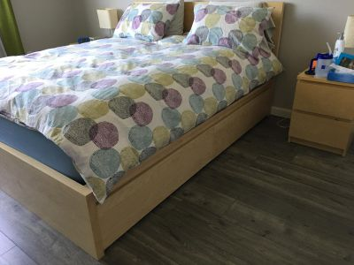 Queen bed (only frame) with 4 large storage drawers