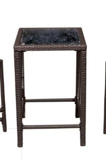 AZ Patio Heaters Dark Brown Wicker Bar Height Bistro Table only, glass top