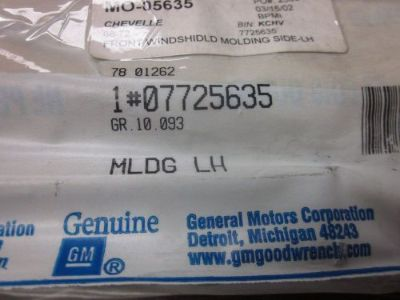 Find GM NOS 68-72 Chevelle LH Front Window Molding GM# 7725635 motorcycle in Houston, Texas, United States, for US $120.00