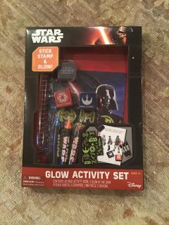 Brand new Star Wars Glow Activity Set - includes Activity Book, sticker sheets, stampers, and crayons - NIP