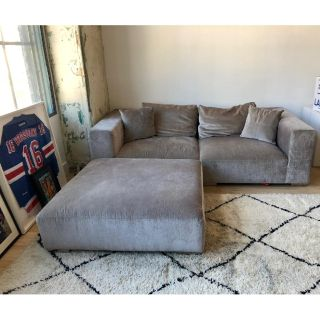 Custom made dark grey 2 piece ottoman sofa