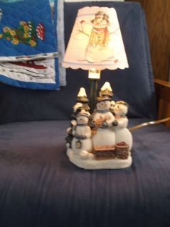 snowman family candle lamp