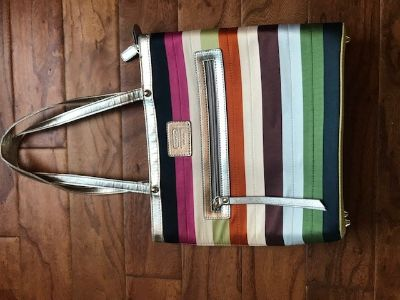 Multicolored Stripped Coach Purse