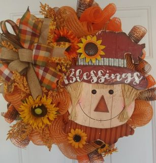 Fall Blessings Scarecrow Deco Mesh Wreath