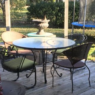 : ) Patio Furniture Set : Table w/Chairs Stand & Umbrella
