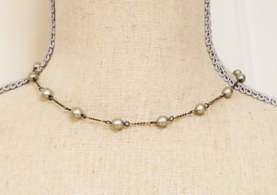 """Gray Antiqued Silver Tone 16"""" Strand Necklace Pendant Choker Statement Chain"""