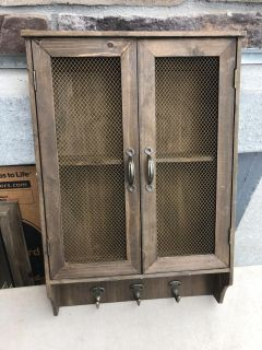 wood chicken wire cabinet wall with hooks & doors 21 x 14 x 4