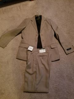Boys suit with black button down long sleeve shirt size 12 slim
