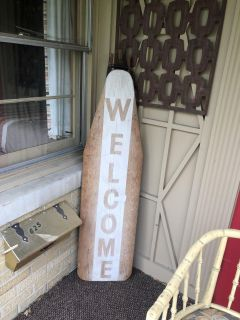 Solid antique ironing board welcome art! Use for every Holiday.