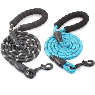 5 FT Strong Dog Leash with Comfortable Padded Handle and Highly Reflective Threads for Medium and Large Dogs
