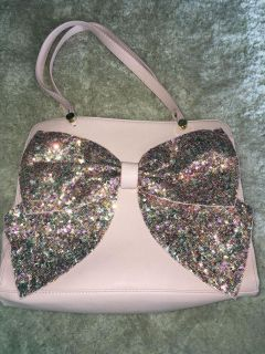 Betsey Johnson Sequin Bow Purse In Blush Pink