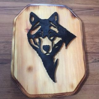Wood wolf carving