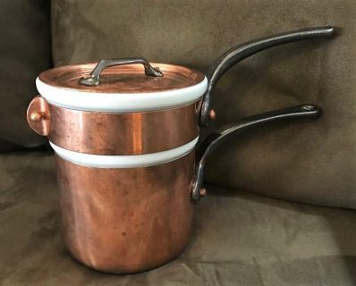 Mauviel 1830 Copper Bain Marie Double Boiler with Apilco Porcelain Insert with Lid