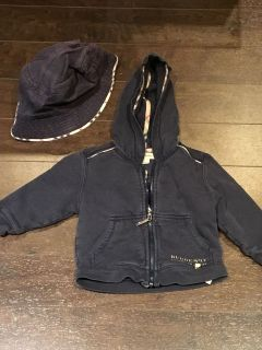 Authentic Burberry hoodie and bucket hat - 12 months old. In Amazing condition.