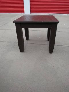Large dark wood style Square end table In Fairfield on 6/16 if you want me to bring this