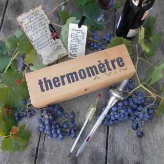 Vintage French 1970's Wine Thermometer in a Box.