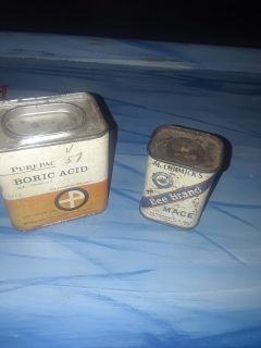 Two Vintage Spice Cans