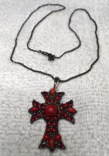 Cross Vintage Pendant on Chain Red Opaque and Crystal Stones Gunmetal Chain Byzantine Style Cross