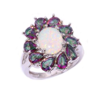 New - White Fire Opal & Rainbow Topaz Ring - Sizes 7, 8 and 9