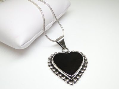 925 Sterling Silver & Onyx Heart Pendant Necklace