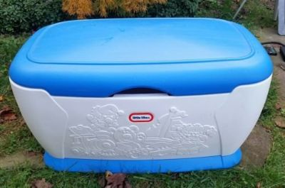 Vintage Toy Box Little Tikes Blue White w Lid Jack In Box Plane Train