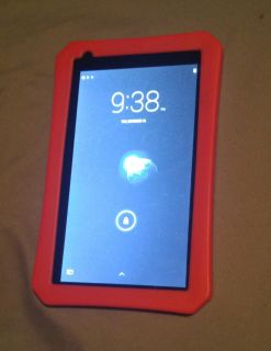 RCA android tablet with red protective case.