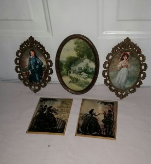 Blue Boy and Pinkie made in Italy (1 glass missing)2 other vintage pictures. All for $8