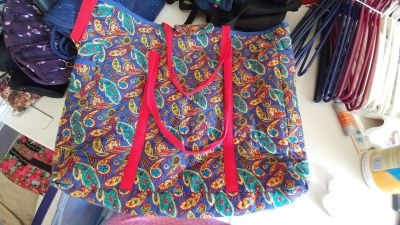 """Large Handmade Quilted Tote Bag - 15"""" H x 16.5"""" W - Key Clip - GUC"""
