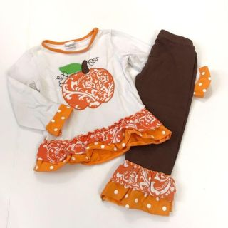 Boutique Girls 3T Outfit Pumpkin Tee Brown Pants