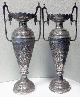 $12,000, Persian Silver Vases, Finely Hand-Engraved, Antique, Over 900 Grams Total
