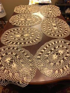 Hand Made Vintage Crochet Cotton Lace Placements