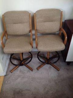 2 Chromcraft Swivel Caster Counter Height Arm Chairs.
