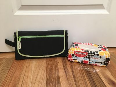 Huggies Wipes & First Years On The Go Diaper Changing Pad. Comes with Wipes Box. Black/Green. Brand New, Sealed & Good Condition.