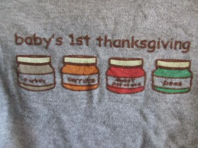 Baby's First Thanksgiving 0-3 Month Long Sleeve Onesie Bodysuit EUC
