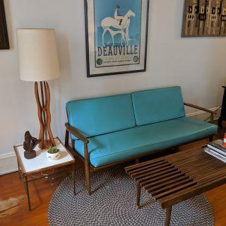Mid Century Baumritter Walnut Danish Style Sofa