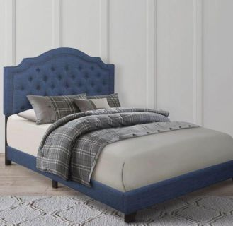 (BRAND NEW IN BOX) Queen Size Blue Tuft Button Linen Fabric Bed Frame