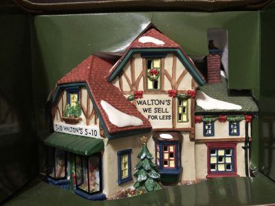 Holiday Time Village Collectibles Walton's 5&10 Hand Painted Porcelain House New