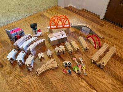 Lot of wooden train tracks and accessories Must see all pics