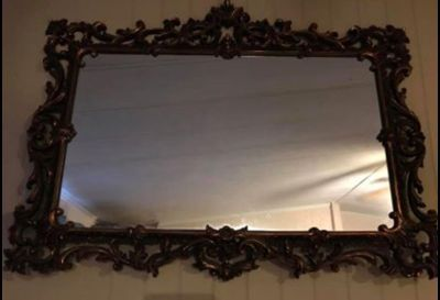 46X40 Old Home interior hard plastic framed mirror