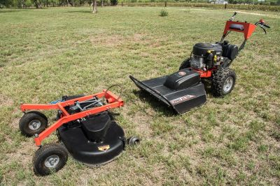 DR Field and Brush Mower with an additional 42 inch lawn mower attachment