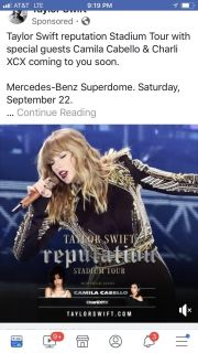 2 Taylor Swift Concert Tickets $250 for set